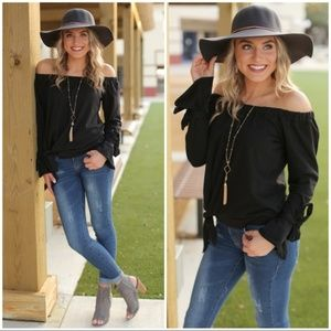 Black Off Shoulder French Terry Tie Sleeve Top